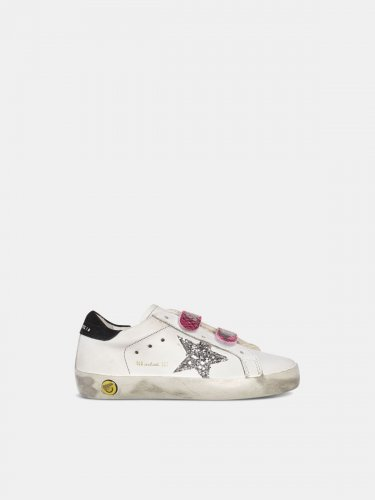 Old School sneakers with glittery star and fuchsia snakeskin-print heel tab
