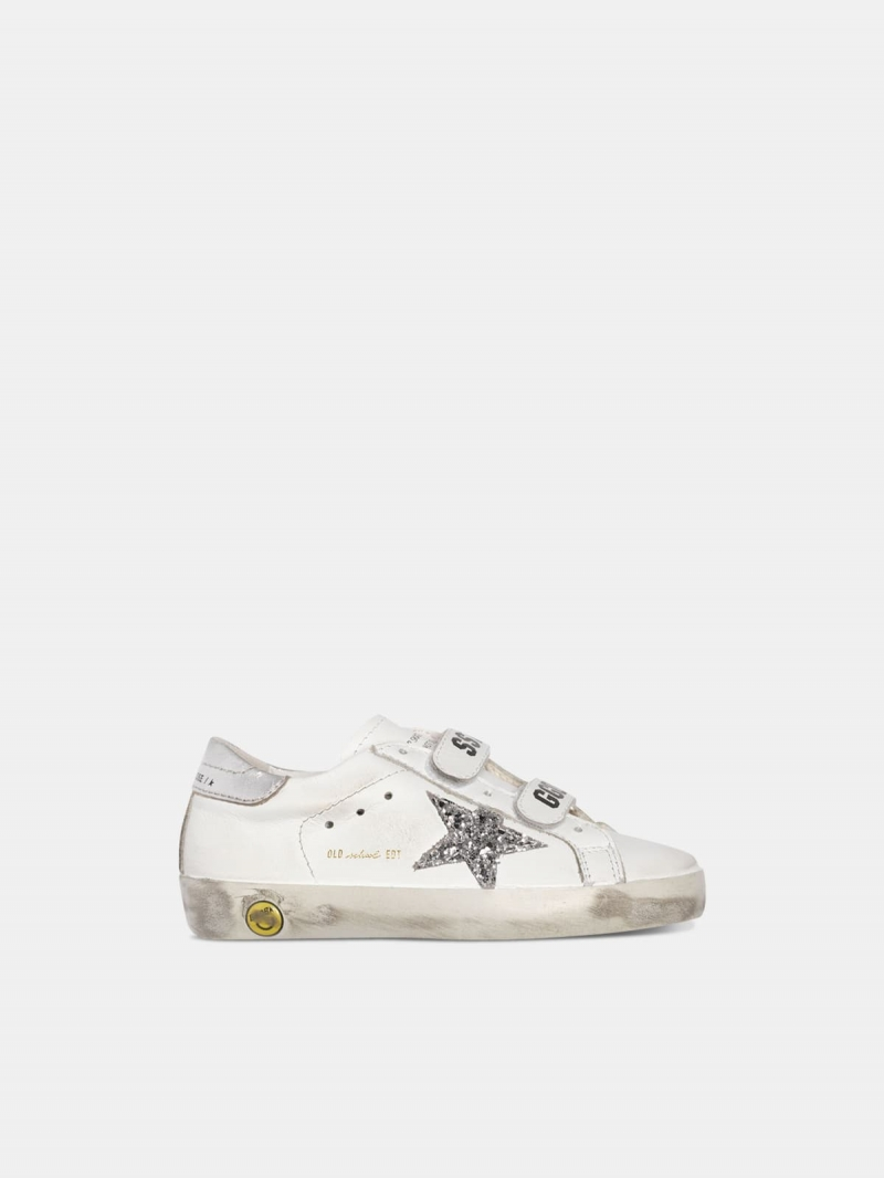 White Old School sneakers with glittery star and silver heel tab