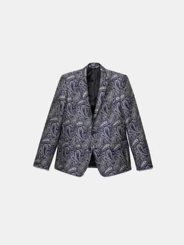 Single-breasted Milano jacket with jacquard paisley motif