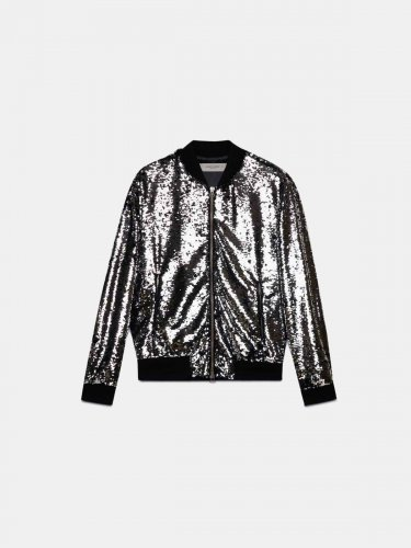 Joshua bomber jacket with silvery sequins