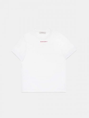 White Golden T-shirt with red flag print on the back