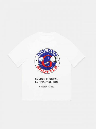 White Golden T-shirt with Golden Shuttle print