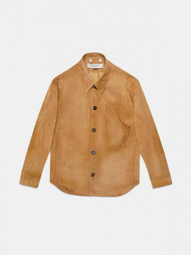 Sawyer shirt in bone brown leather