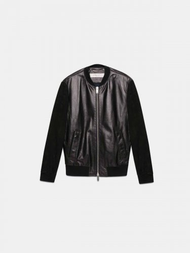 Black leather Dylan bomber jacket