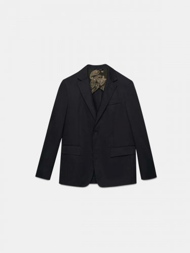 Single-breasted black Golden jacket in poplin
