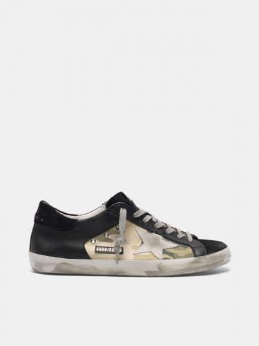 Super-Star sneakers in black leather and camouflage canvas