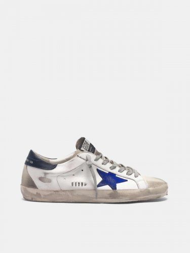 White Super-Star sneakers with electric blue star