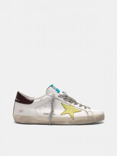 Super-Star sneakers with yellow star and burgundy heel tab