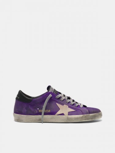 Purple Super-Star sneakers in suede with a pearl star