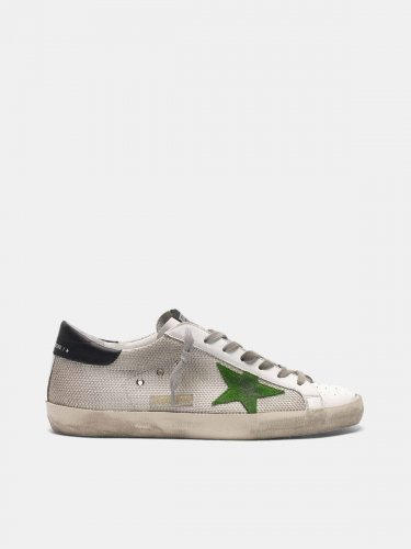 Super-Star sneakers in leather and mesh with green star