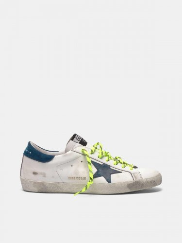 White Super-Star sneakers with fluorescent trekking laces