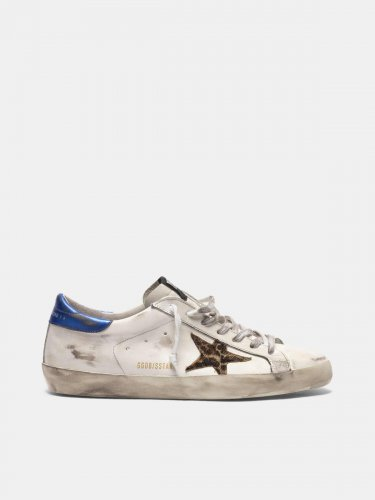Super-Star sneakers with leopard-print star and blue heel tab