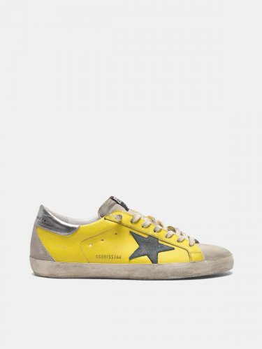 Yellow Super-Star sneakers with silver heel tab