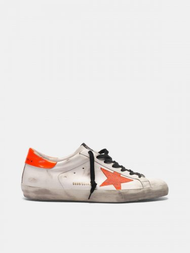 Super-Star sneakers with star and fluorescent orange heel tab