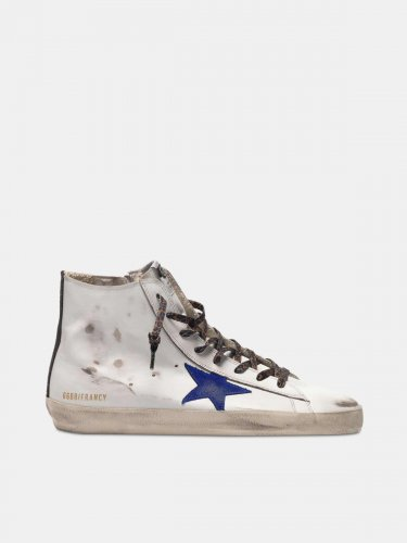 White Francy sneakers with blue star and leopard-print laces