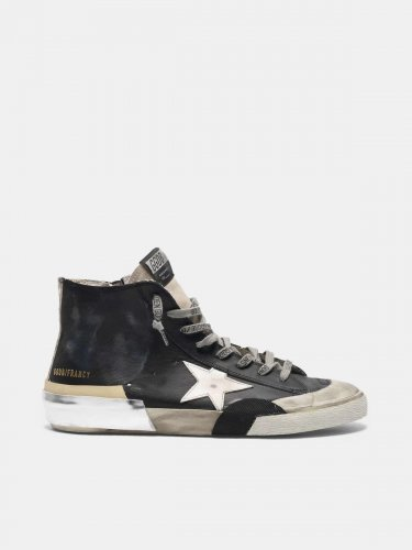 Black patchwork Francy sneakers with multi-foxing