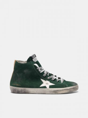 Francy sneakers in green suede with white star