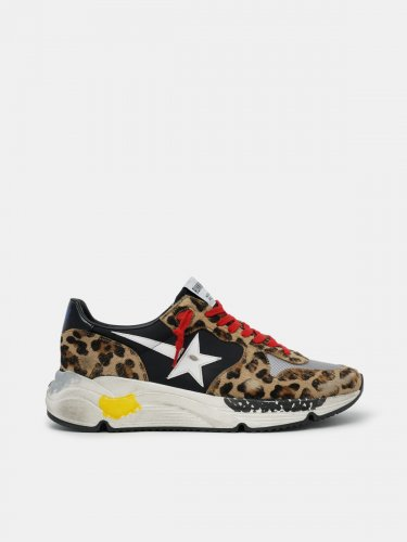 Running Sole sneakers in leopard-print pony skin with red laces