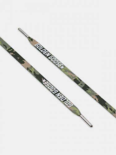 Men's green camouflage laces with white logo