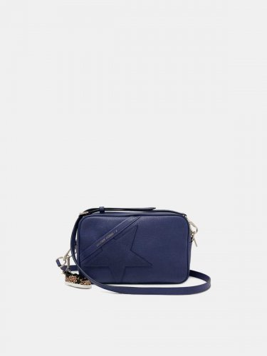 Blue Star Bag with shoulder strap made of pebbled leather