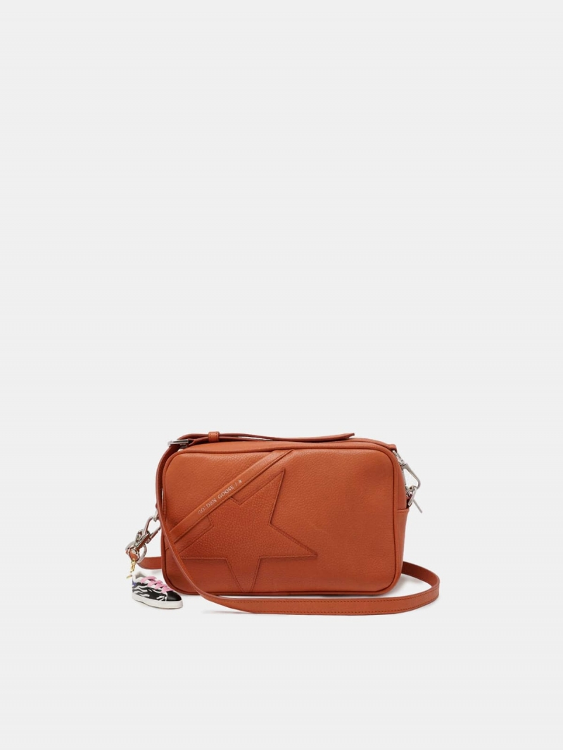 Orange Star Bag with shoulder strap made of pebbled leather