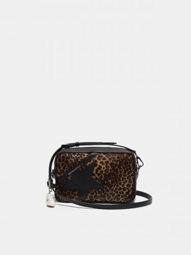 Star Bag made of leopard print pony skin