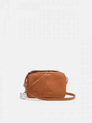 Tan Star Bag made of hammered leather