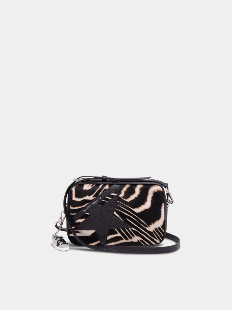 Star Bag made of zebra print pony-effect leather