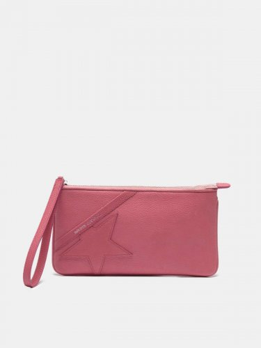 Red Star Wrist clutch bag in grained leather