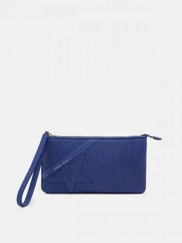 Blue Star Wrist clutch bag in grained leather