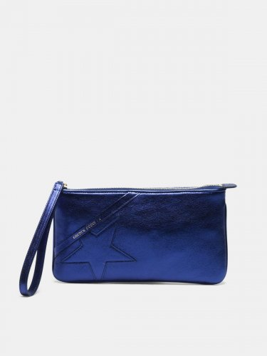 Metallic blue Star Wrist clutch bag