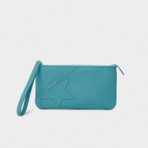 Turquoise Star Wrist clutch bag made of hammered leather