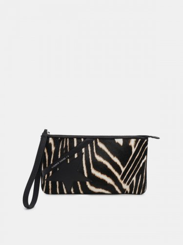 Star Wrist clutch bag made of zebra print pony-effect leather