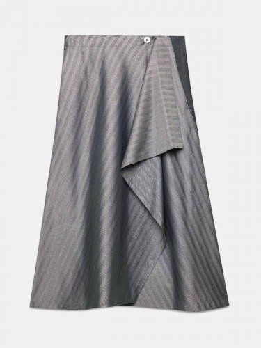 Maya wraparound skirt in herringbone lurex