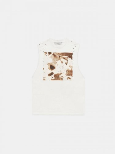 White sleeveless Marfa T-shirt with Cow print
