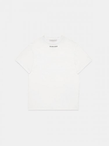 White Golden T-shirt with print on the back