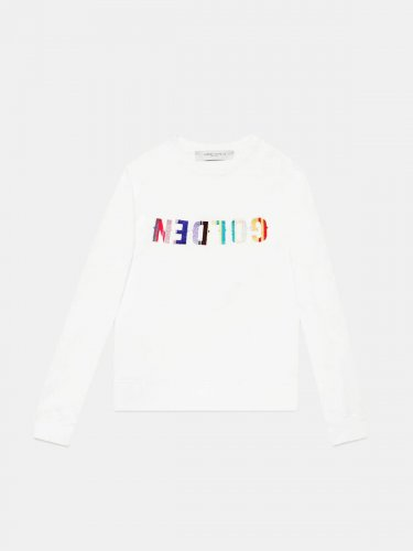 Golden sweatshirt with embroidered multi-colour logo