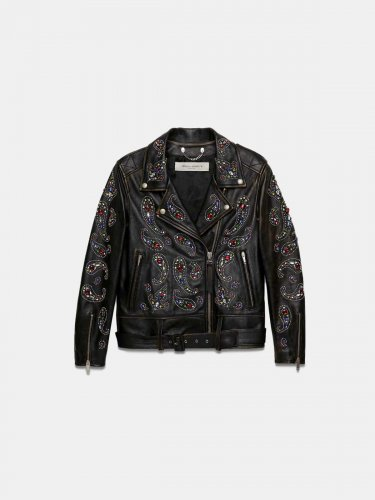 Victoria biker jacket in mustang nappa leather