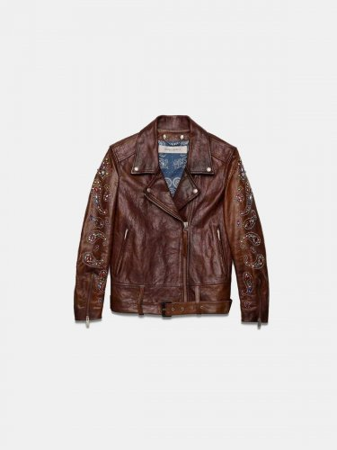 Victoria biker jacket in dark brown crust leather