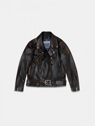 Victoria biker jacket in black mustang nappa leather with print on the back