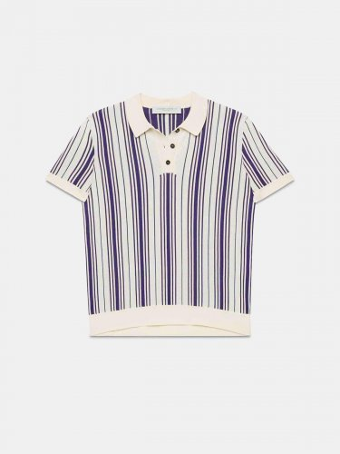 Violet polo shirt in cotton blend with purple stripes