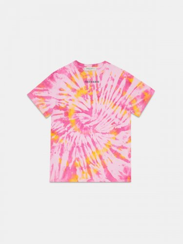 Golden tie-dye T-shirt with Sneakers Lover print on the back