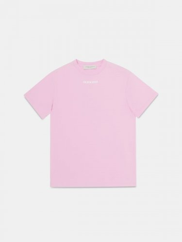 Golden T-shirt in pink with glittery print on the back