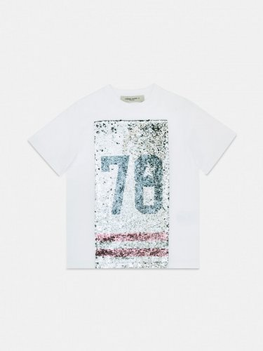 Emily regular-fit T-shirt with sequins on the front and 78 print