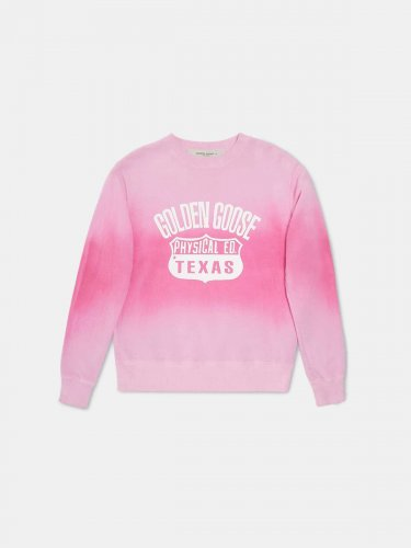Sharon round-neck tie-dye sweatshirt with Texas print