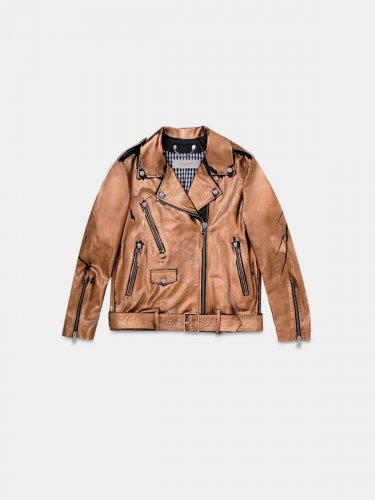 Dakota biker jacket in bronze laminated leather