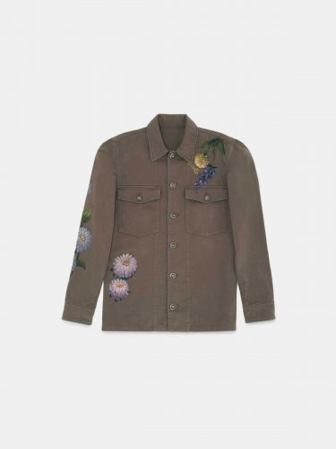 Layla olive-green jacket with hand-painted flowers