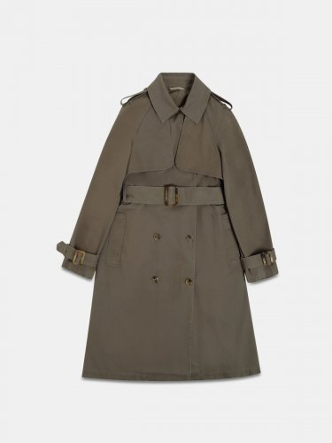 Grace trench coat in military green cotton