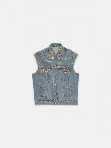 Harper denim waistcoat with rhinestones and studs