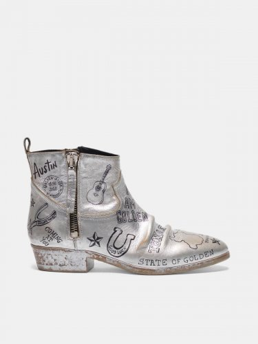 Silver Viand ankle boots with graffiti